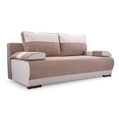MEUBLO Canapé en lit Convertible avec Coffre de Rangement Relax 3 Places - Tissu et Simili Cuir - Nisa (Beige + Blanc)
