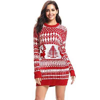 iClosam Femmes - Ugly - Pull en Maille de Noël avec imprimé élan à Manches Longues (rouge1, S)