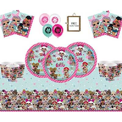 LOL Surprise Party Supplies Kids Birthday Deluxe Vaisselle pour 16 invités - LOL Party Decorations avec Cadre Photo Gratuit