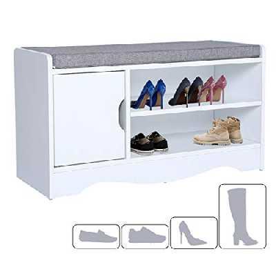 Banc à Chaussures Banc armoire a chaussure Banc de Rangement à Chaussures avec Coussin de Siège Pour Entrée de Chambre à Coucher de Couloir 80 * 30 * 44 cm
