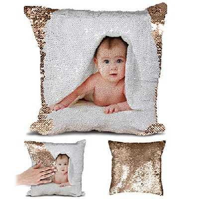 P&B Housse de coussin personnalisée avec votre image à paillettes Housse de coussin décorative de la maison Taie d'oreiller carrée 45 cm, rose gold, Taille unique