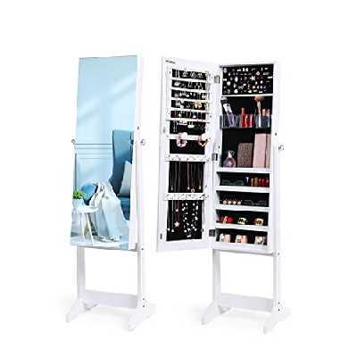 Nicetree Armoire à bijoux sur pied, Armoire de rangement, avec miroir plein sans cadre, blanc.