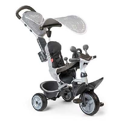 Smoby - Tricycle Baby Driver Confort Gris - Vélo Evolutif Enfant Dès 10 Mois - Roues Silencieuses - Housse Rembourrée - Jeux au Volant - 741202