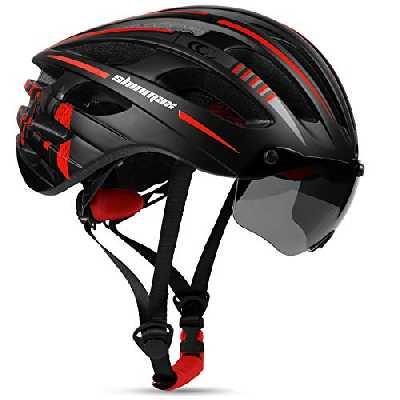 Shinmax Casque de Vélo Certifié CE Casque Vélo Homme Casque VTT avec Lumière USB Autocollant Lumineux Casque Velo avec Visière,Unisexe Adulte Casque vélo Route Cyclisme Skateboard 57-62CM(RC-049)