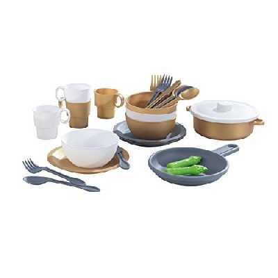 Kidkraft - 63532 - Set de Dinette 27 Pièces avec Couverts et Ustensiles de Cuisine Couleurs Métalliques Modernes