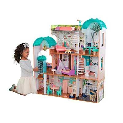 Kidkraft - 65986 - Camila Maison de Poupée en Bois avec Meubles et Accessoires Inclus Convient Aux Poupées de 30cm [Exclusif Amazon]