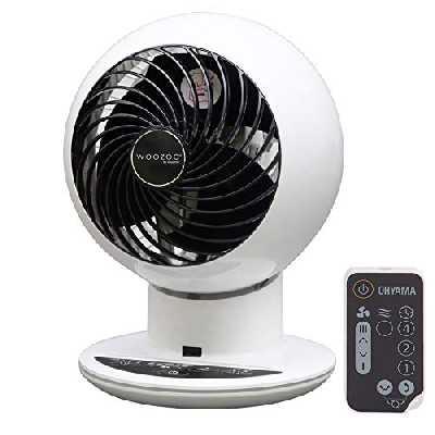 Iris Ohyama SC15T White Ventilateur silencieux avec minuteur, oscillation-Woozoo PCF-SC15T Blanc-30 m², 21 x 21 x 29 cm, plastique, Blanc, Avec télécommande
