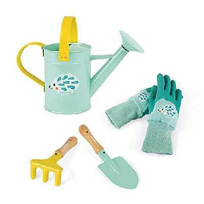 Janod - Set du Petit Jardinier Happy Garden - Set de 4 Outils de Jardinage pour Enfant - Motricité Fine - Couleur Menthe - Dès 3 Ans, J03187