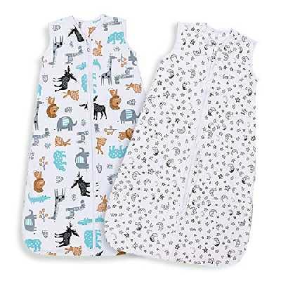 Lictin Gigoteuse d'Emmaillotage 0.5 TOG - 2pcs Couverture Bébé en Biologique Couverture d'emmaillotage pour Bébé 2 modèles Longueur Ajustable de 70 à 90 cm Pour Bébé de 3 à 18 Mois