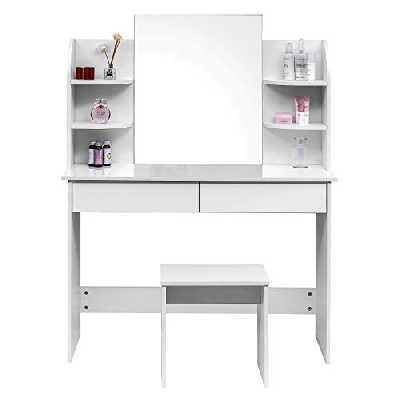 WOLTU MB6044ws Coiffeuse Table de Maquillage avec Miroir Plateau avec Tabouret, 108x40x142cm, Blanc