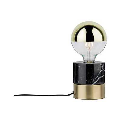 Paulmann 79742 Neordic Vala Lampe de table, max. 1x20W, E27, Laiton br/noir, 230V, Métal/Marbre