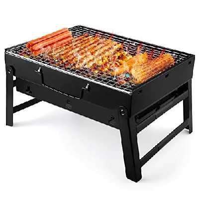 UTTORA Grill Barbecue, Portable et Pliable Barbecue de Table au Charbon de Bois sans Fumée en Acier Inoxydable à l'Extérieur BBQ pour Jardin Terrasse Pique-Nique Camping Voyage (36 x 29 x 7.5 cm)