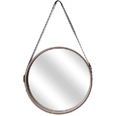 THE HOME DECO FACTORY Miroir Rond avec Anse Imitation Cuir Barber