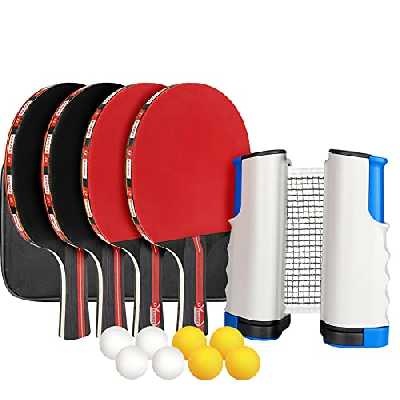 XDDIAS Raquette de Ping Pong Professionnel Set, 4 Raquette de Tennis de Table + Rétractable Filet de Table Tennis + 8 Balle, Portable Ping-Pong Accessoire (Rouge)