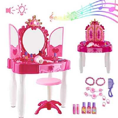 deAO Ensemble de Jeu de beauté avec Coiffeuse et Miroir Glamour; Accessoires de Maquillage; Tabouret; Fonction de Lumière et de Musique – Super Cadeau