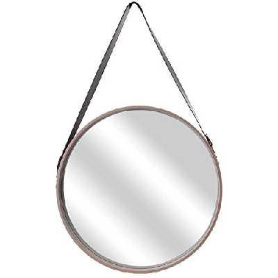 THE HOME DECO FACTORY - Miroir Rond avec Anse Imitation Cuir Barber 50 cm