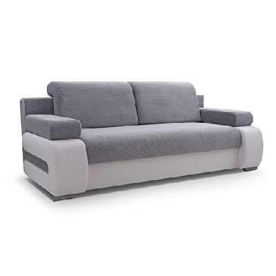 MEUBLO Canapé en lit Convertible avec Coffre de Rangement Relax 3 Places - Tissu et Simili Cuir - York (Gris Clair/Blanc)