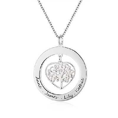 Grand Made Pendentif avec nom personnalisé Collier avec Pendentif Arbre de Vie avec Cadeau gravé pour Grand-mère ou Femme