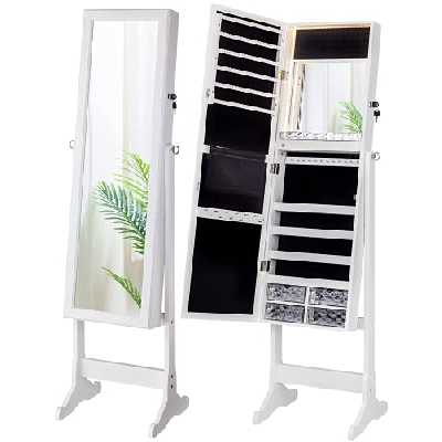 LUXFURNI Armoire à Bijoux à LED avec Miroir verrouillable et Grand Organiseur de Rangement avec tiroirs (Blanc)