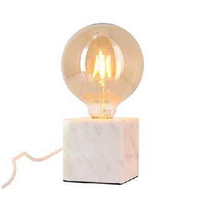 Xanlite CDEM01WB125F Lampe à Poser Cube en marbre Blanc (culot E27) + Ampoule Globe Vintage fumée