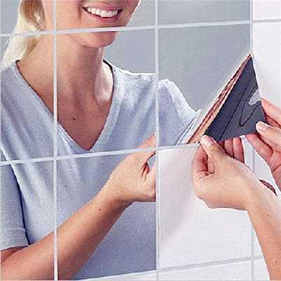 HKTOPONE 9Pcs Miroir Autocollant Miroir Adhésif Décoratif Miroir Carrés Argenté Amovible Mosaïque Décorative 15cm x 15cm 3D Decal Mosaic Home Room Decoration DIY for Living Room Porch
