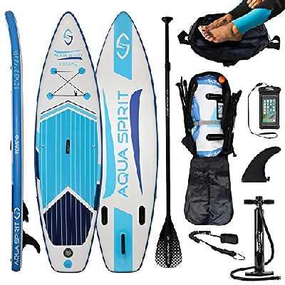 AQUA SPIRIT iSUP Stand up Paddle Gonflable Surf Planche de Paddle pour Adulte Unisexe Débutant et intermédiaire 300x80x12.5cm Charge Max 115KG avec Pagaie Réglable, Matelas à Langer, Sac de Transport