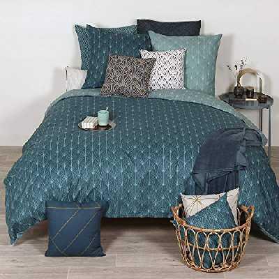 Côté Déco Parure de lit Gatsby géométrique Bleu 240x220 cm Azsy - Sets de Housse de Couette imprimé avec 2 Taies d'oreiller