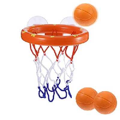 BUYGOO Jouet de Bain bébé Rigolo Filles 1 à 6 Ans, Jouet de Bain Basket et Cerceau Jeu de Bain créatif pour Enfants avec ventouses (1 Panier, 3 balles)