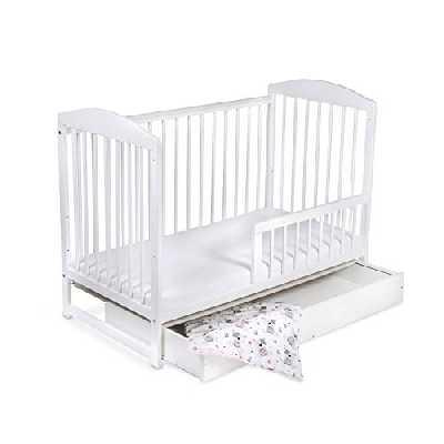 Lit pour Bébé à barreaux évolutif TOMI 15 - Avec MATELAS, Blanc - Version AVEC tiroir.