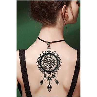 Tatouages temporaire attrape rêve mandala plumes - pour homme et femme tatouage éphémère - avant bras/jambe/mollet/bras/nuque - 21 x 15 cm