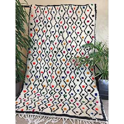 Tapis marocain fait main Beni Oauarain. laine naturelle Beni Ouarain artisanal. 200x120 cmTapis Azilal berber
