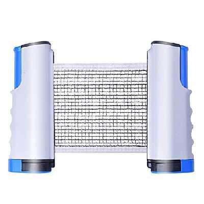 Filet de ping-pong rétractable Sportout, support de filet de tennis de table portable, parfait pour une table de ping-pong, un bureau, une cuisine ou une table de salle à manger, Gris bleu.