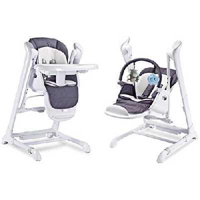 SPLITY 3 en 1 : Chaise Haute, Balancelle, transat.Toutes options (MP3, chargeur.) (Graphite)