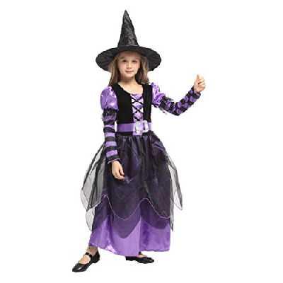 Costume Déguisement de Sorcière Fille - Robe de Déguisement Halloween avec Chapeau et Ceinture Enfant Carnaval Cosplay (7-9 ans)