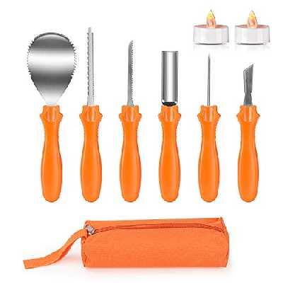 Joyjoz Couteau à découper citrouille d'Halloween pour Sculpture, 9 pièces Grattoir Outils de Sculpture Couper Citrouille kit de Sculpture