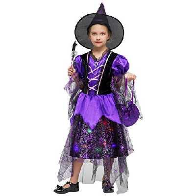 Déguisement Halloween Fille Lumineux Costume Sorcière Enfant Cosplay Carnaval Spectacle (4-6 ans)