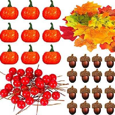 162 Pièces Ensemble de Fruits Noisette Réalistes, Comprenant Mini Citrouille Artificielle, Feuilles d'Érable Simulées, Faux Gland, Baies Réalistes pour la Décoration de la Maison