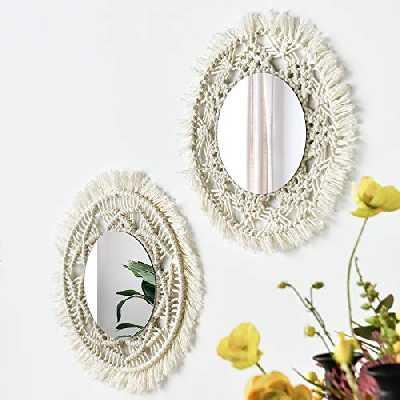 Lot de 2 miroirs muraux macramés faits à la main Outsky à suspendre avec franges rondes pour appartement, salon, chambre à coucher, chambre à coucher, décoration de la maison Moderne