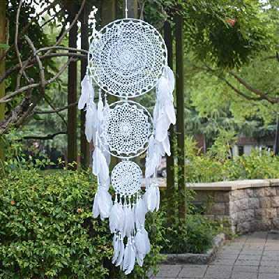EasyBravo Grand Attrape Rêves avec 3 Cercles, Plumes Blanches macramé à Suspendre pour décoration de Mariage Vintage 35cm Cercle 110cm de Long