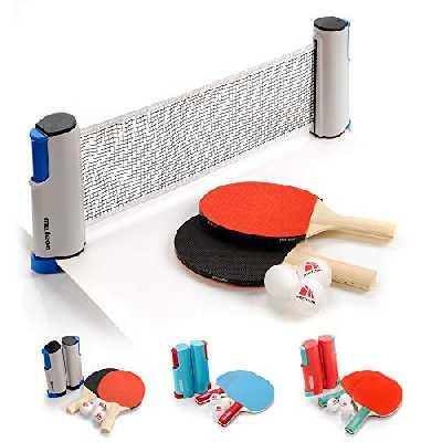 meteor Ensemble de Tennis de Table 170 cm rétractable instantané pour Raquettes de ping-Pong avec Filet et 3 balles pour débutants et Professionnels (Basic, Gris/Bleu)