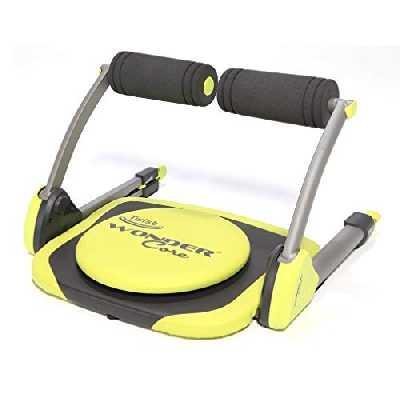 WONDER CORE Twist – Appareil de Sport Compact Mixte Adulte pour Abdominaux, Biceps, Triceps, Dos, Buste et Jambes – Coloris Noir/Jaune