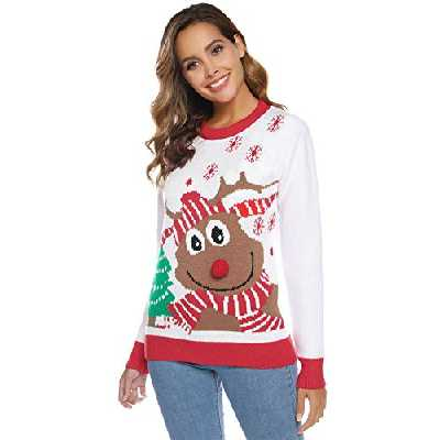 Abollria Pull Femme Noël Sweater Tricot Coton Joyeux Christmas Top T-Shirt Motif Flocon de Neige Arbre de Noël Wapiti Imprimé Fête Dames Noël Col Rond Casual - Blanc - S