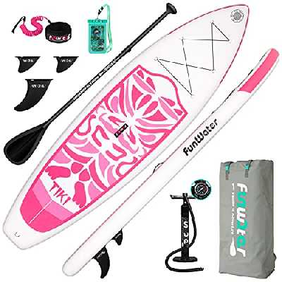 FunWater Stand Up Paddle Stand Up Paddle Board gonflable 27,9 cm/25,4 cm avec accessoires de planche gonflable, trois ailerons, pagaie réglable, pompe, sac à dos, laisse, sac étanche