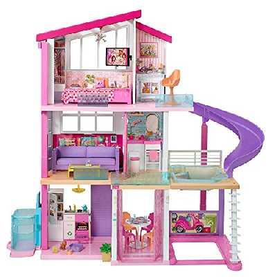 Barbie Mobilier Dreamhouse, maison de rêve pour poupées avec piscine, toboggan et ascenseur accessible en fauteuil roulant, jouet pour enfant, GNH53