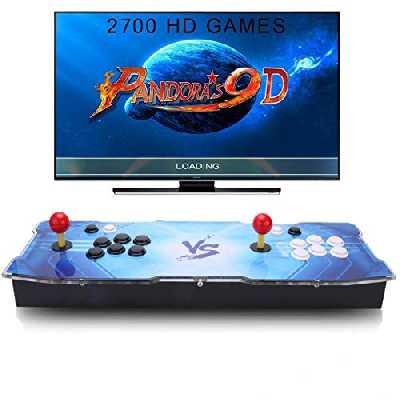 SeeKool Pandora 9D Console de Jeux vidéo Arcade, 2700 en 1 Console de Jeux vidéo HD Retro, 1280 * 720 Full HD, 4 Joueurs Max Arcade Joystick Console Machine, Output de HDMI et VGA