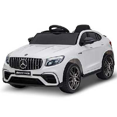 HOMCOM Voiture véhicule électrique Enfants 12 V 35 W V. 3-5 Km/h télécommande Effets sonores + Lumineux Blanc Mercedes GLC AMG
