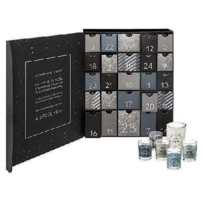 Atmosphera - Original Calendrier de l'avent avec 25 Bougies parfumées dans Pots en Verre avec Citation