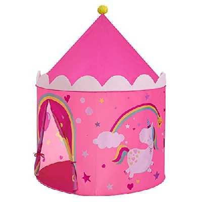 SONGMICS Tente de Jeu Enfant, Château pour Enfant, Tipi Pop-up Portable, avec Sac de Transport, intérieur et extérieur, idée Cadeau, Rose et Jaune LPT04PY