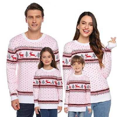 Akalnny Pull Femme Noël Tricot Sweater Parent-Enfant Tops T-Shirt Motif Flocon de Neige Wapiti Imprimé Col Rond Casual Automne Hiver Fête Noël pour Famille(Noir,Femme,L),Blanc-enfants,8 ans