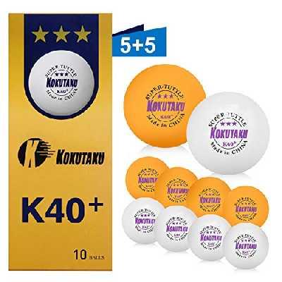 Balle de tennis de table 3 étoiles blanche orange raquette set de balles de ping pong Professionnel K40 + idéales pour enfants adultes pour les matchs de formation en plein air en intérieur 10 Pack